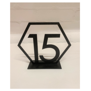 Black Hexagon Table Number