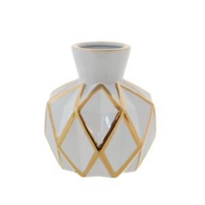White/Gold Ribbon Vase